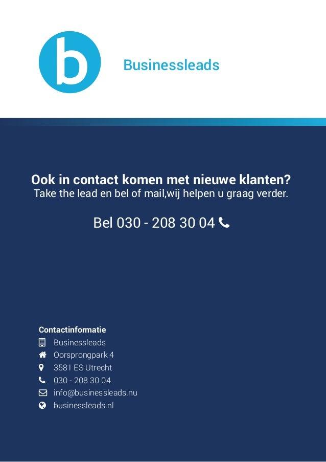 Contactinformatie  Businessleads  Oorsprongpark 4  3581 ES Utrecht  030 - 208 30 04  info@businessleads.nu  bu...