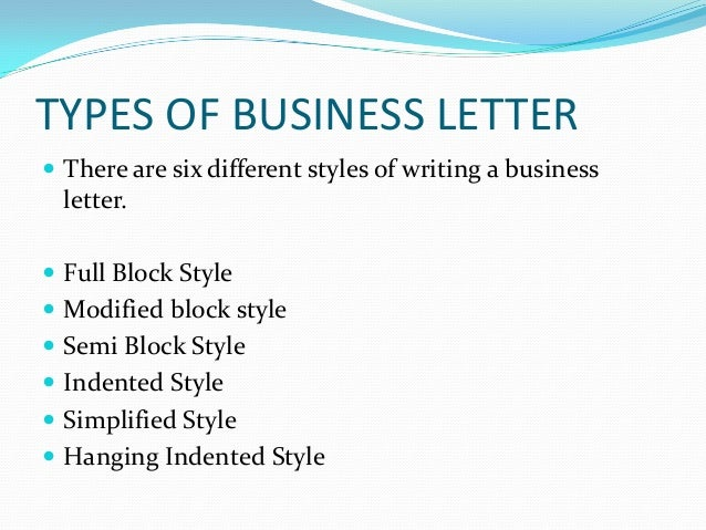 business letters and different styles