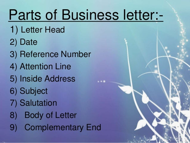 parts of business - Main Parts Of Business Letter