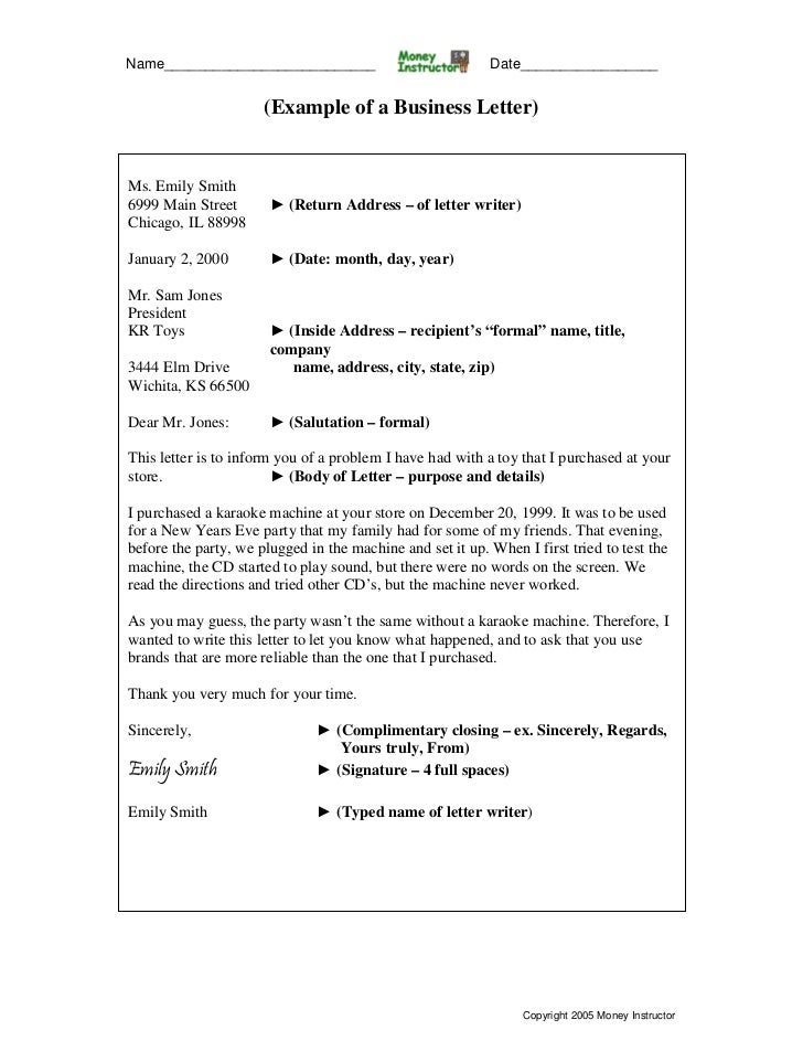 Business letter example – Business Letter Example