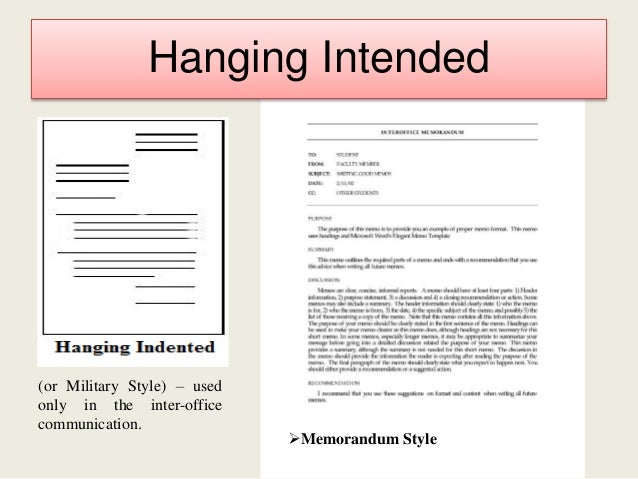 Hanging Indented Style Business Letter Sample