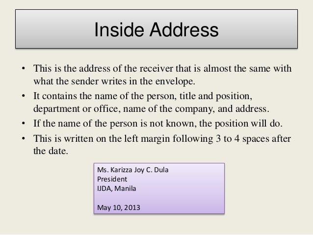 Business letter final 9 inside address spiritdancerdesigns Gallery