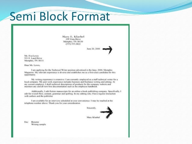 Business letter formats 7 semi block format altavistaventures Image collections