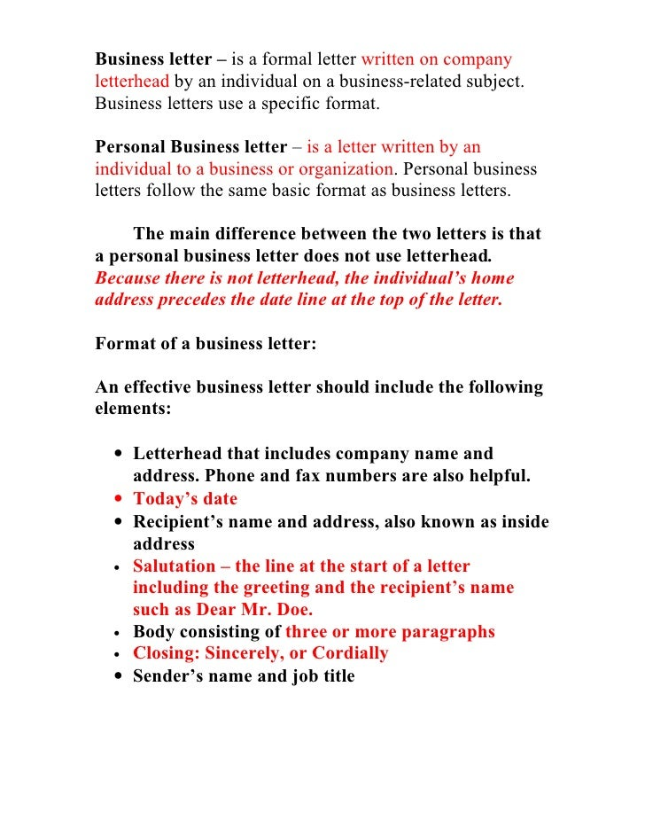 Business Letter Information Sheet