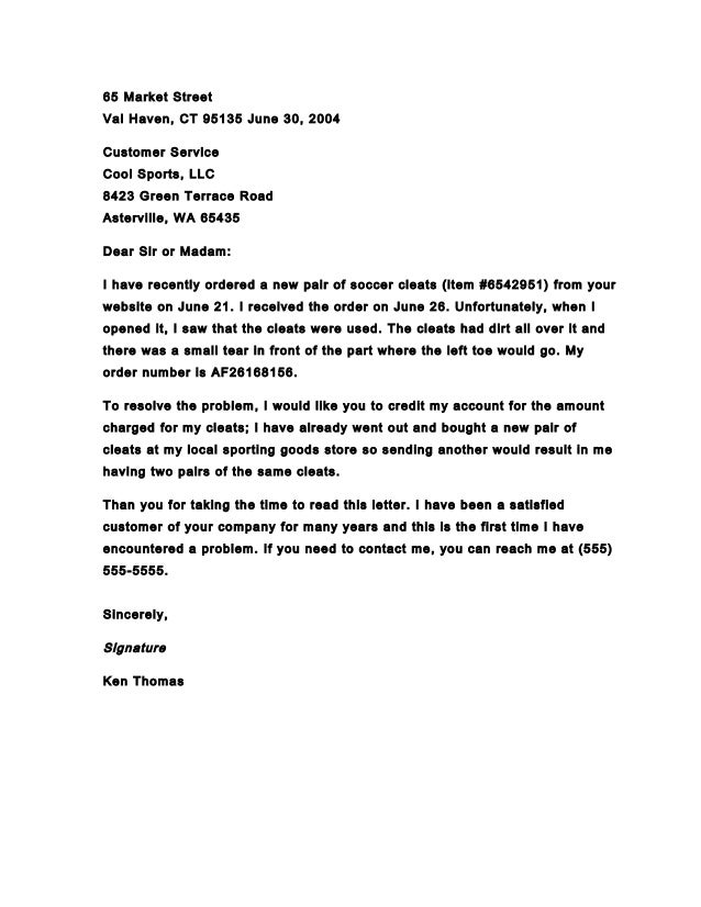 Superb Business Letter Of Complaint.pptx Example. 65 Market Street Val Haven, CT  95135 June 30, 2004 Customer Service Cool Sports Inside Business Complaint Letter Format