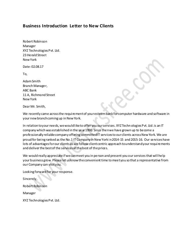 Sample business letter of introduction to new clients business introduction letter to new clients robertrobinson manager xyz technologiespvtd 23 heraldstreet newyork thecheapjerseys Image collections