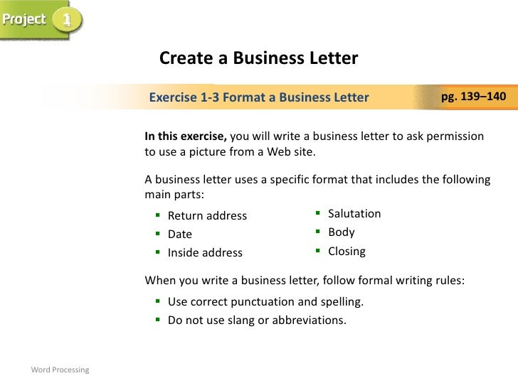 Business letter power point word processing 4 1 create a business letter spiritdancerdesigns Images