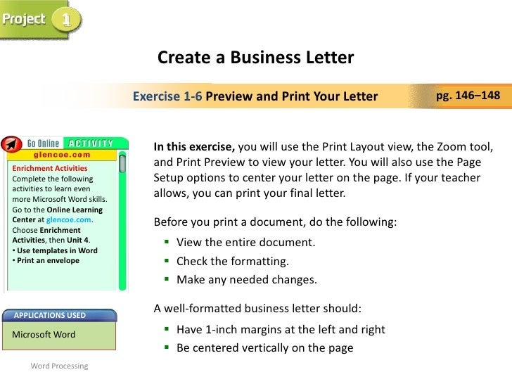 how to set up a business letter