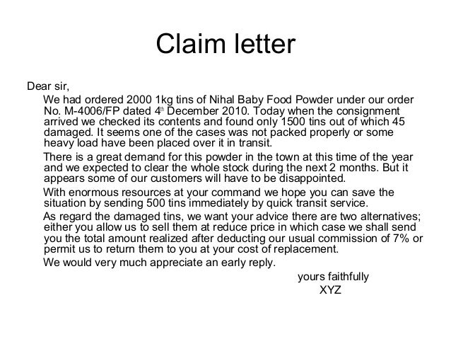 calim letter