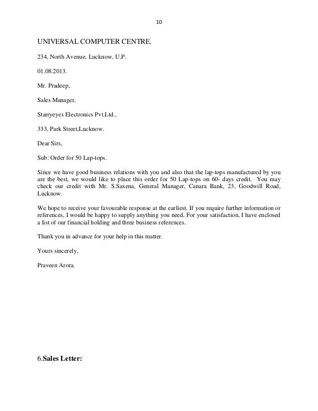 Business letters – Purchase Order Letter Format
