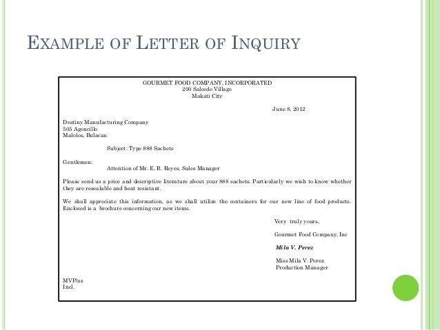 Business letters 22 example of letter of inquiry thecheapjerseys Choice Image