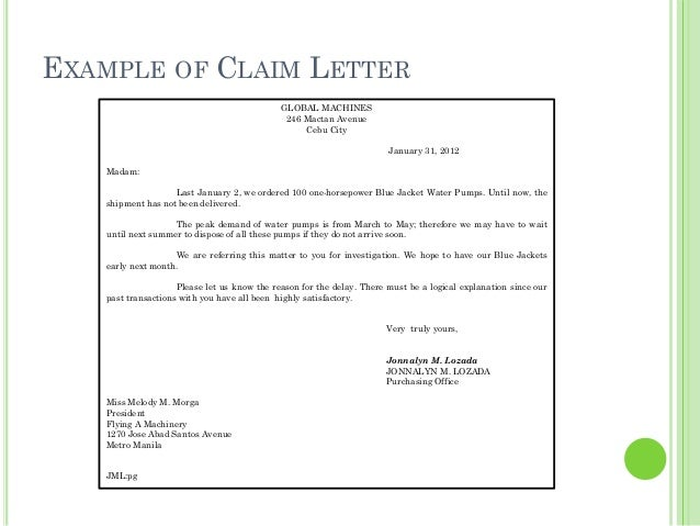 Sample Of Claim Letter from image.slidesharecdn.com