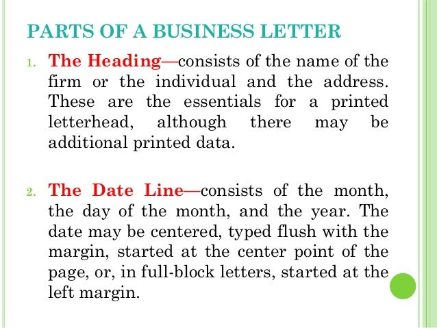 Business Letters – Parts of a Business Letter