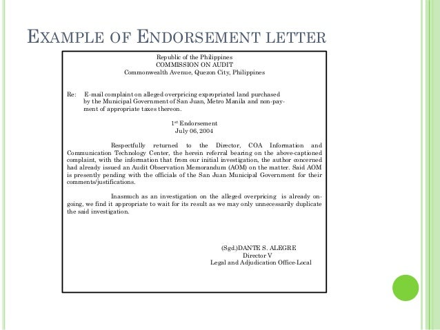 Business Letters – Endorsement Letter for Employment