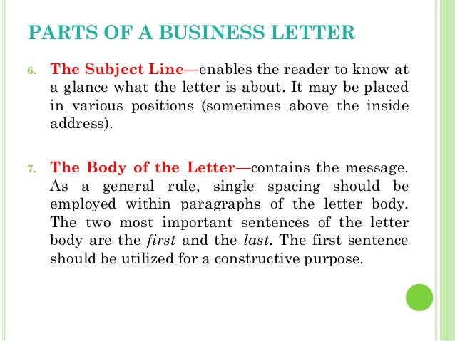 ... 9. PARTS OF A BUSINESS LETTER 6.