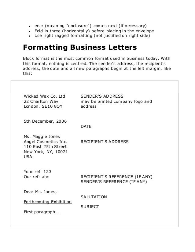 how to write a business letter format with cc and enc