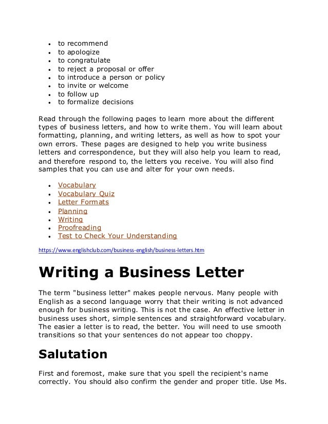 simple business letters