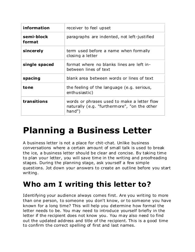 business letter words