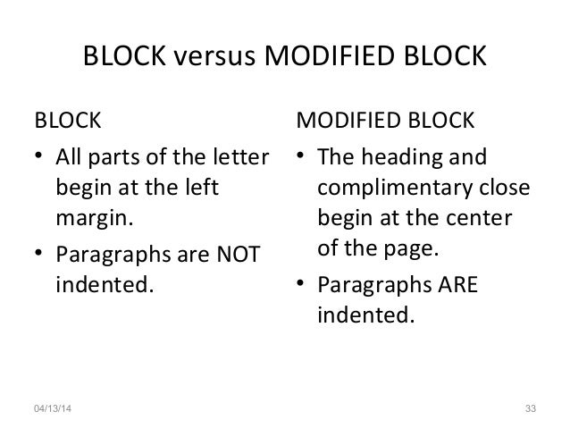 Define Modified Block Format Of Business Letter