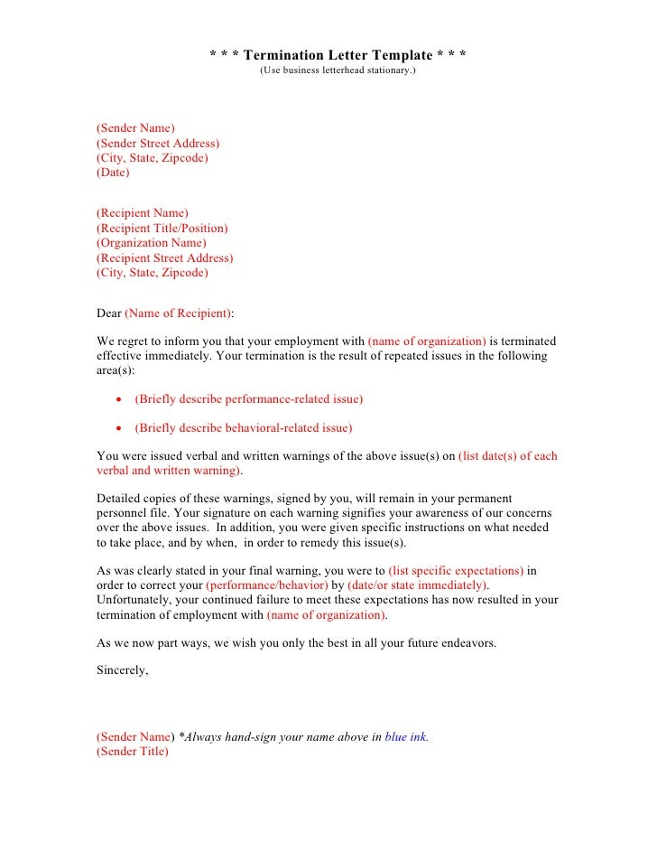 Business letter templates sender title 13 termination letter template thecheapjerseys Image collections