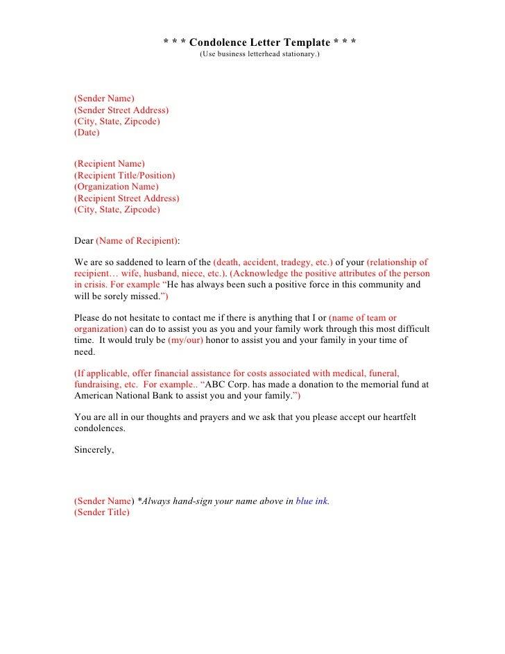 (Sender Title); 6. * * * Condolence Letter ...  Condolence Letter Example