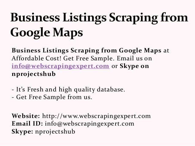 Business Listings Scraping from Google Maps