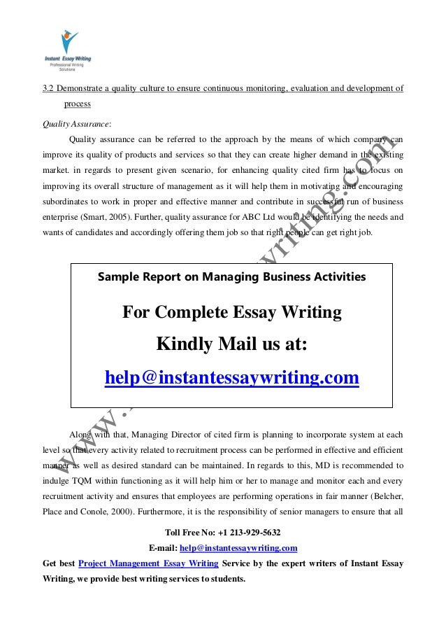 sample report on managing business activities by instant essay writing 13