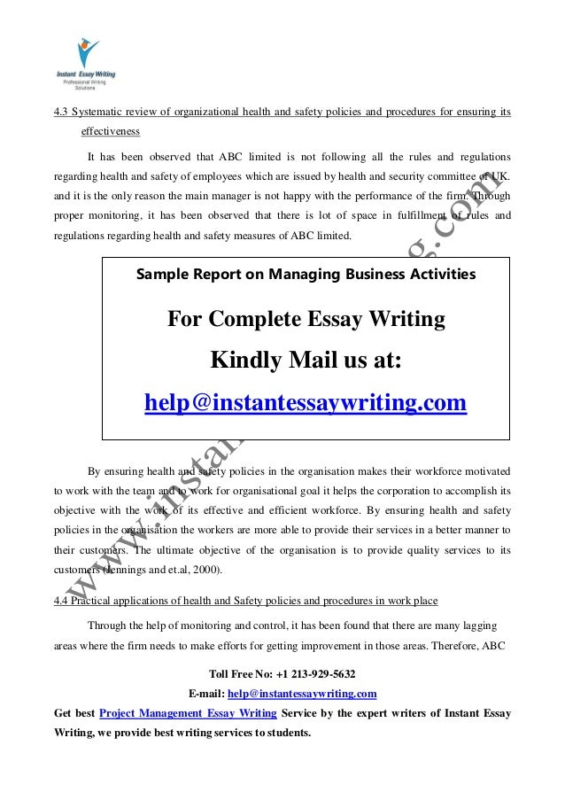 sample report on managing business activities by instant essay writing 17