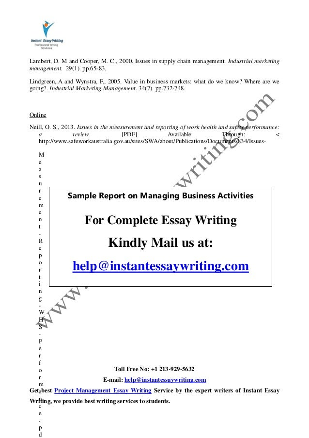 sample report on managing business activities by instant essay writing 20