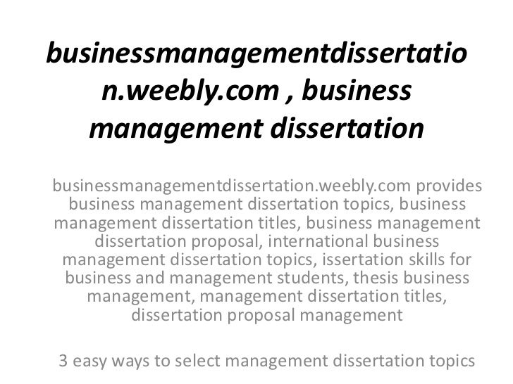 Business management dissertation