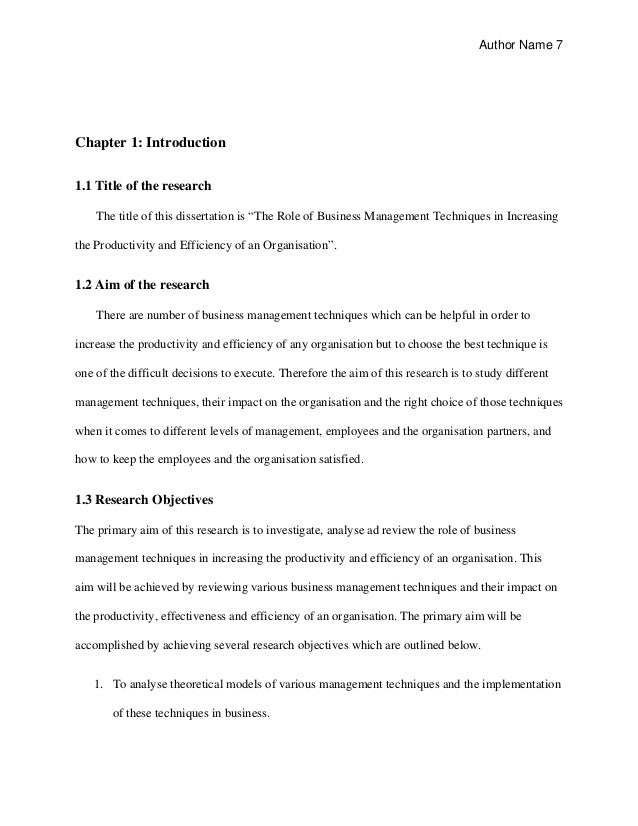 mba dissertation examples