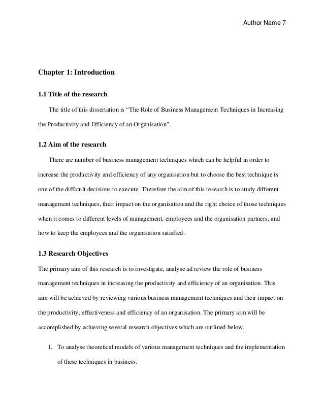 Business studies dissertation