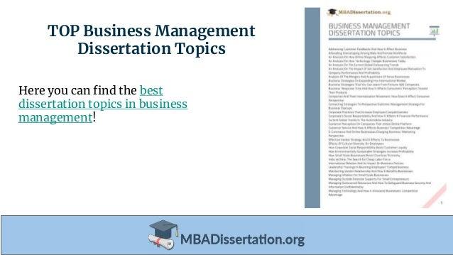 dissertation business management topics