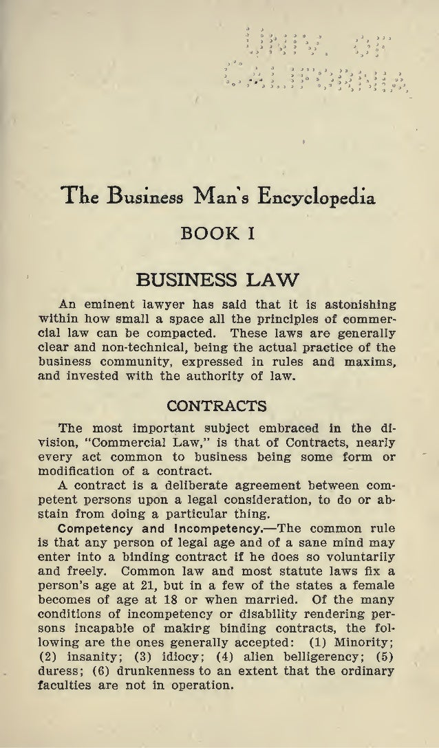 Xne Susmess Man a Encyclopedia BOOK I BUSINESS LAW An eminent lawyer has said that it is astonishing within how small a sp...