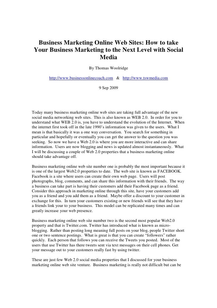 Business Marketing Online Web Sites: How to take  Your Business Marketing to the Next Level with Social                   ...