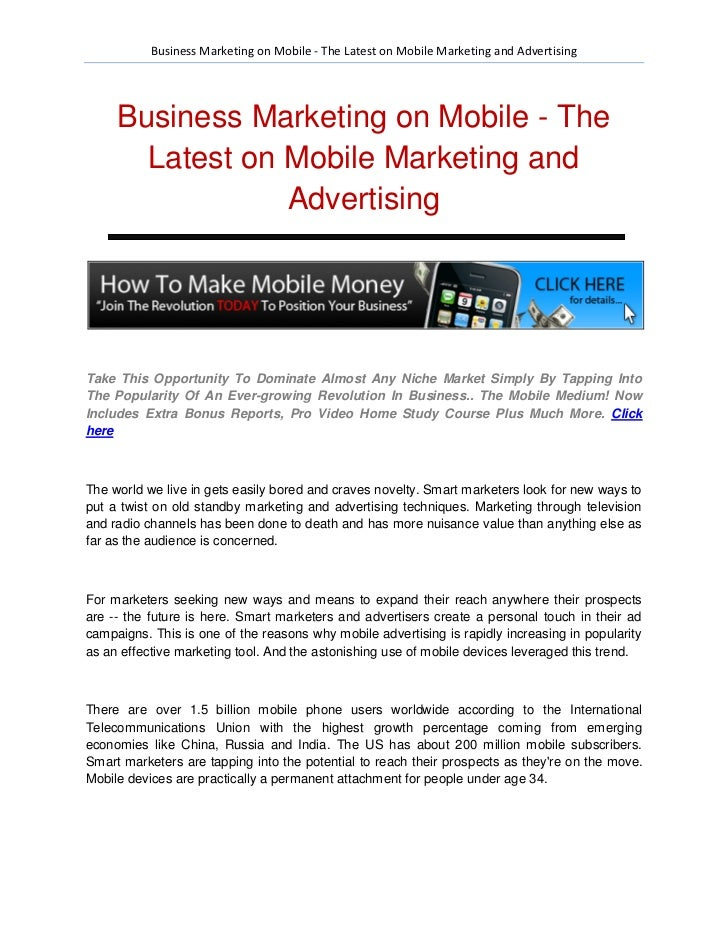 Business Marketing on Mobile - The Latest on Mobile Marketing and Advertising     Business Marketing on Mobile - The      ...