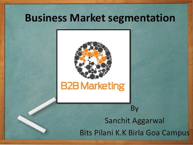 Business Market segmentation By Sanchit Aggarwal Bits Pilani K.K Birla Goa Campus