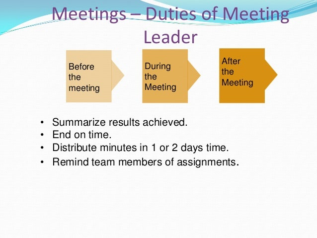 Meetings – Duties of Meeting Participant • • • • • •  Arrive early and prepared; silence your phone. Bring a positive atti...