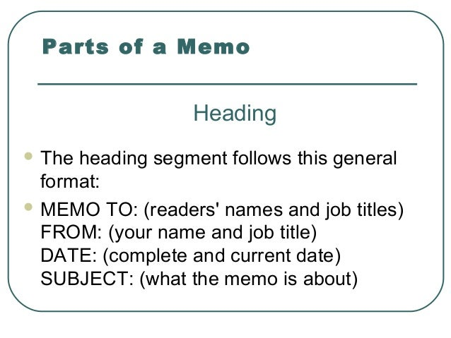 memo heading