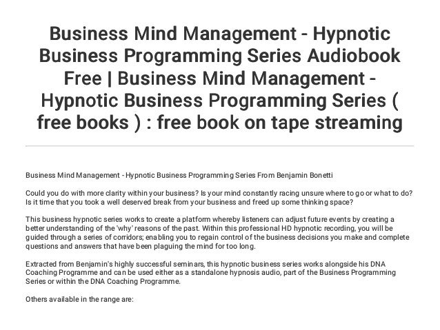 Business Mind Management - Hypnotic Business Programming Series Audio…