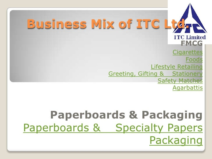 Business Mix of ITC Ltd.<br />FMCGCigarettesFoodsLifestyle RetailingGreeting, Gifting &    StationerySafety MatchesAgarbat...