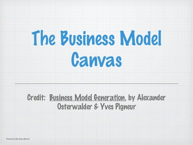 The Business Model Canvas Credit: Business Model Generation, by Alexander Osterwalder & Yves Pigneur  Presented by Dan Cas...