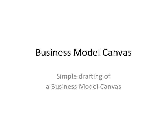 Business Model Canvas Simple drafting of a Business Model Canvas