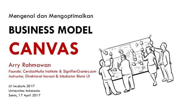 Mengenal dan Mengoptimalkan BUSINESS MODEL CANVAS UI Incubate 2017 Universitas Indonesia Senin, 17 April 2017 Arry Rahmawa...