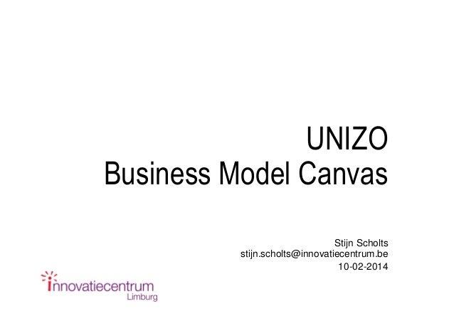 UNIZO Business Model Canvas Stijn Scholts stijn.scholts@innovatiecentrum.be 10-02-2014