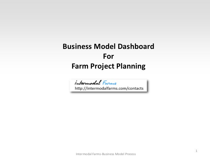 Business Model Dashboard           For  Farm Project Planning                                             1   Intermodal F...