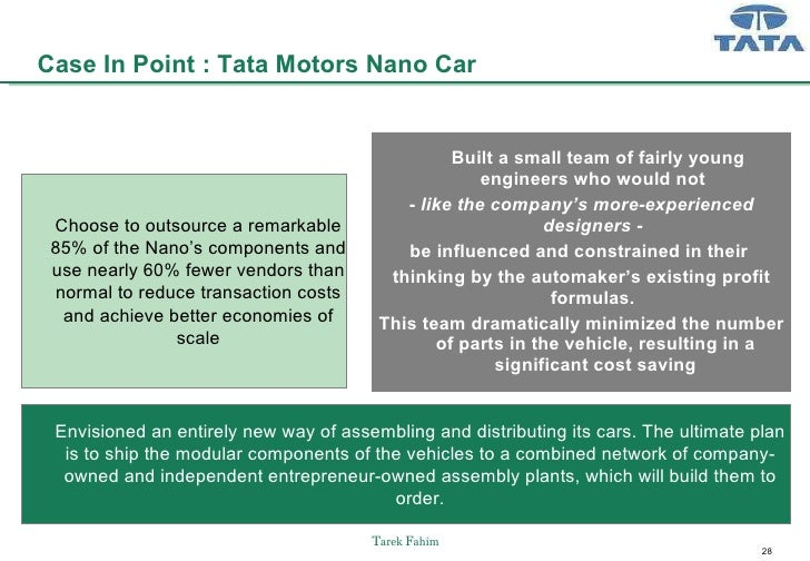 tata nano customer value proposition Tata nano's execution failure: how the people's car failed to reshape the auto industry and create new growth  the teaching note reviews how tata nano created its exceptional value proposition.