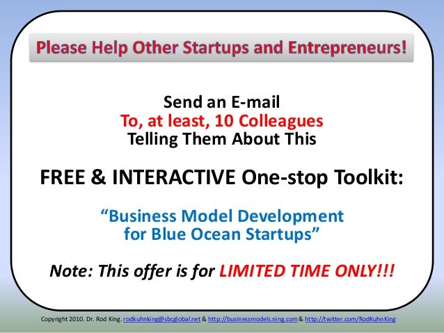 """Send an E-mail To, at least, 10 Colleagues Telling Them About This FREE & INTERACTIVE One-stop Toolkit: """"Business Model De..."""