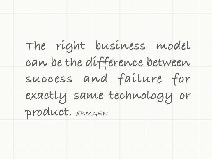 The right business modelcan be the difference betweensuccess and failure forexactly same technology orproduct. #BMGEN