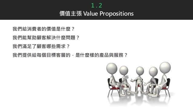 1 . 2 價值主張 Value Propositions 我們給消費者的價值是什麼? 我們能幫助顧客解決什麼問題? 我們滿足了顧客哪些需求? 我們提供給每個目標客層的,是什麼樣的產品與服務?